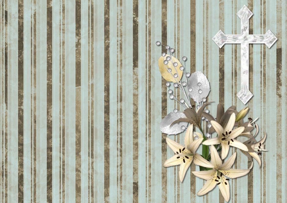 十字架と花